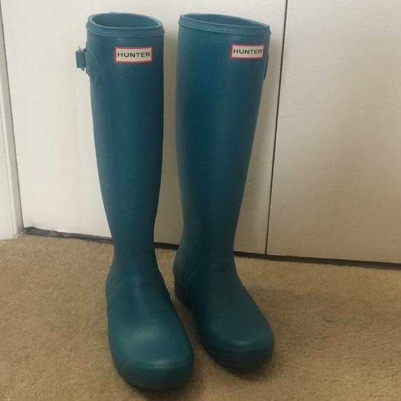9770556067f Hunter original tall matte teal rain boot size 8